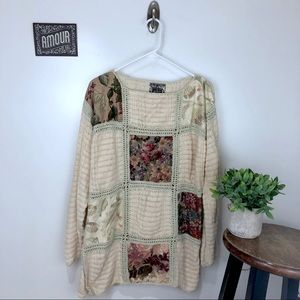 ANTHROPOLOGIE Curio Floral Patchwork Sweater